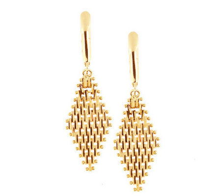 Imperial Gold Ultra Lame Marquise Dangle Lever Back Earrings 14K
