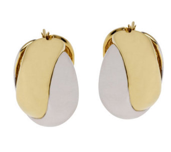 Arte d'Oro Bold Two-tone Crisscross Hoop Earrings, 18K Gold - J112254