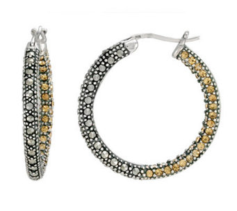 Suspicion Sterling Marcasite & Champagne Crystal Hoop Earring - J112454