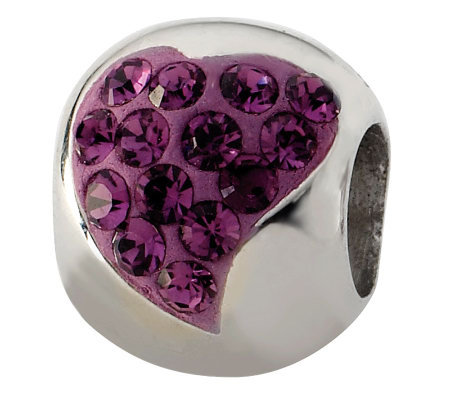 Prerogatives Sterling Purple Crystal Small Heart Bead