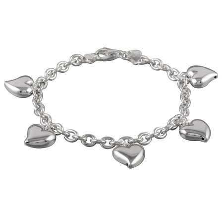 "UltraFine Silver 7-1/2"" Polished Heart Charm Bracelet"