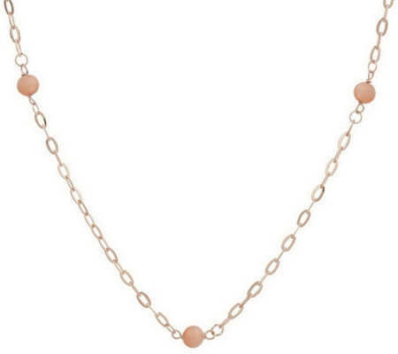 """As Is"" 20"" Gem stone Bead Stat ion Necklace, 1 4K Gold"
