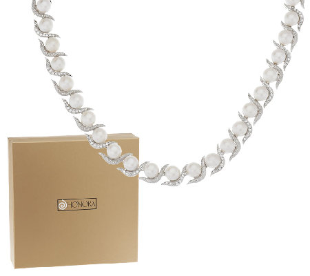 "Honora Cultured Pearl 8.0mm 2.50 ct tw White Topaz 16"" Necklace"