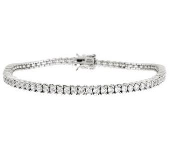 Diamonique 100-Facet Tennis Bracelet, Platinum Clad - J266654