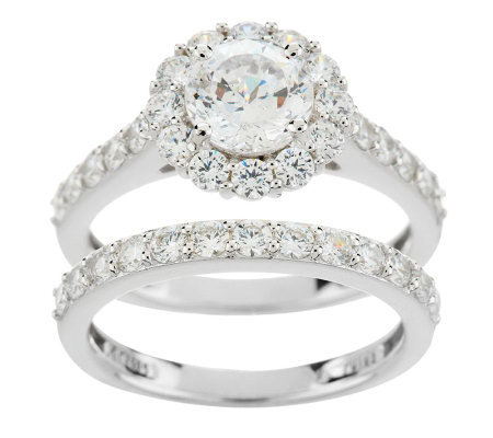 Epiphany Diamonique 100-Facet 2.90 ct tw 2-pc. Ring Set
