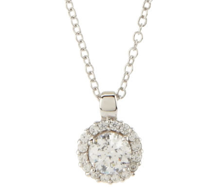 Epiphany Diamonique 100-Facet Halo 1.15 ct tw Pendant w/Chain