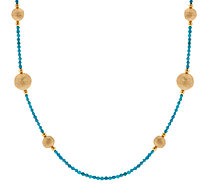 "Bronze 36"" Gemstone & Bead Station Necklace by Bronzo Italia - J270954"