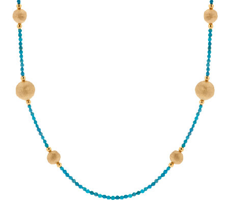 "Bronze 36"" Gemstone & Bead Station Necklace by Bronzo Italia"
