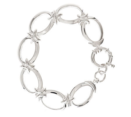 "UltraFine Silver 7-1/4"" Polished Status Link Bracelet, 23.8g"