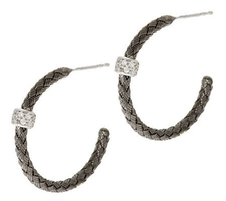 "VicenzaSilver Sterling 1"" Woven Hoops w/ Diamonique Station"