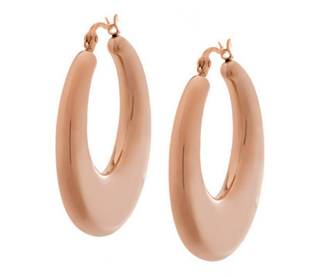 Stainless Steel Puffed Hoop Earrings