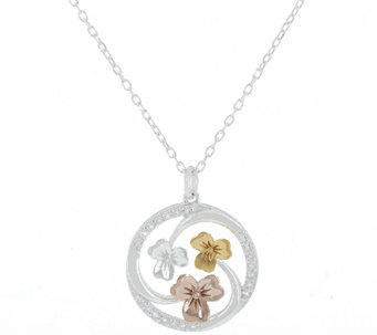 JMH Jewellery Sterling Silver & Gold Plated Shamrock Pendant - J287454