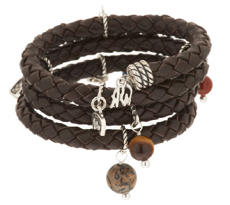 American West Brown Leather & Sterling Charm Coil Bracelet