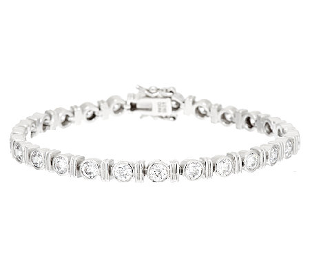 Diamonique 100-Facet & Bar Tennis Bracelet Platinum Clad