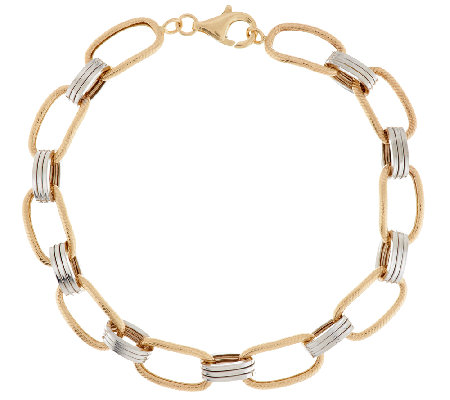 """As Is"" 14K Gold 7-1/4"" Two-Tone Textured Link Bracelet, 3.8g"