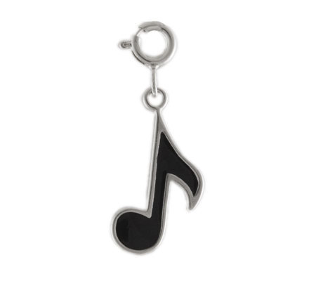 Sterling and Black Enamel Musical Note Charm