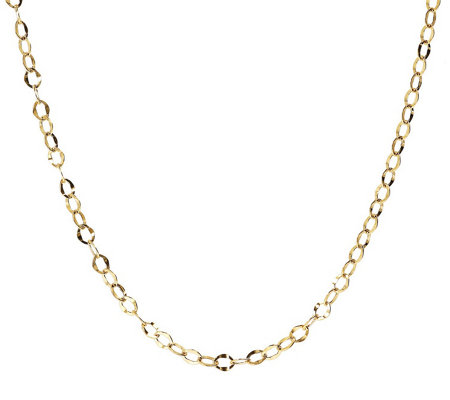 "18"" Hammered Oval Link Chain, 14K Gold 1.6g"