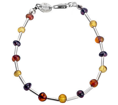 "Baltic Amber Sterling Multicolored Bead 7"" Bracelet"