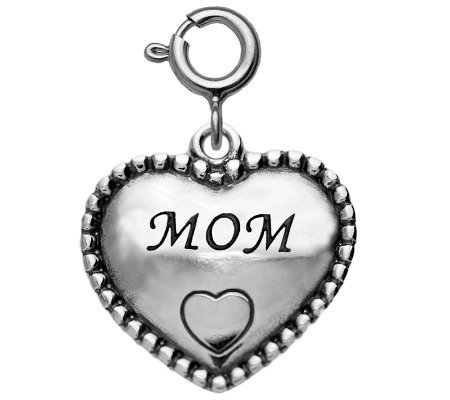 "Sterling Beaded ""Mom"" Heart Charm"