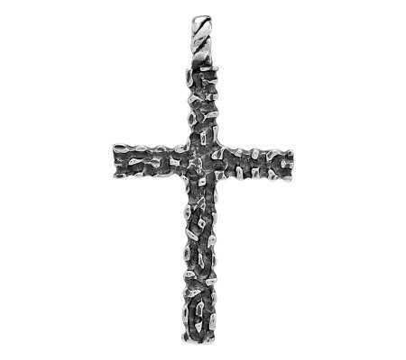 Sterling Textured Oxidized Cross Pendant