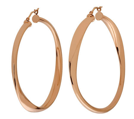 "Bronzo Italia 2"" Round Twisted Hoop Earrings"