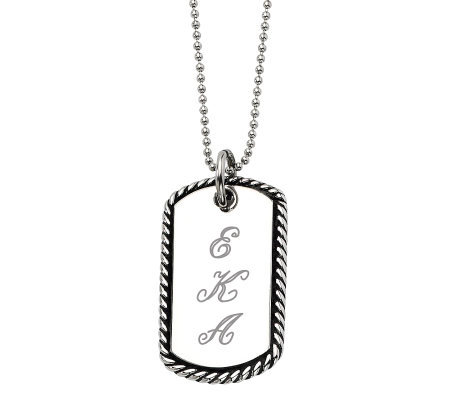 "Stainless Steel Oxidized Engravable Pendant and24"" Chain"