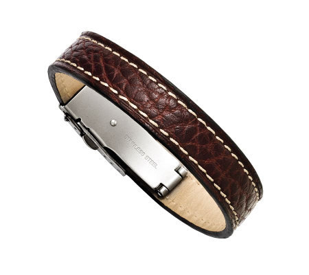 Forza Men's Stainless Steel Brown Leather Bracelet
