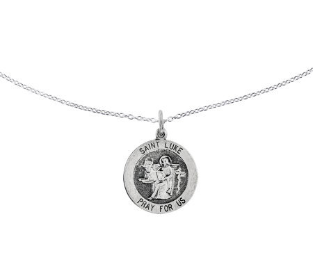 "Sterling Saint Luke Round Solid Pendant w/ 18""Chain"