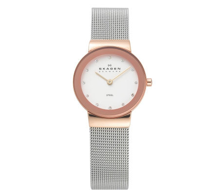 Skagen Women's Crystal-Accented Mesh Bracelet Watch
