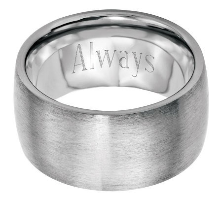 Stainless Steel 12mm Brushed Engravable Ring