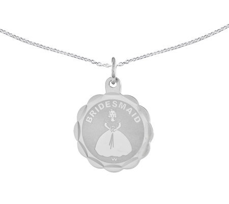 "Sterling Bridesmaid Round Disc Pendant w/ 18"" Chain"