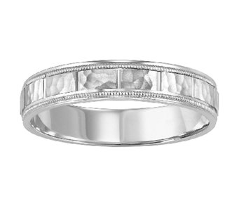 4.5mm Men's Square Pattern Wedding Band, 14K White Gold - J315754