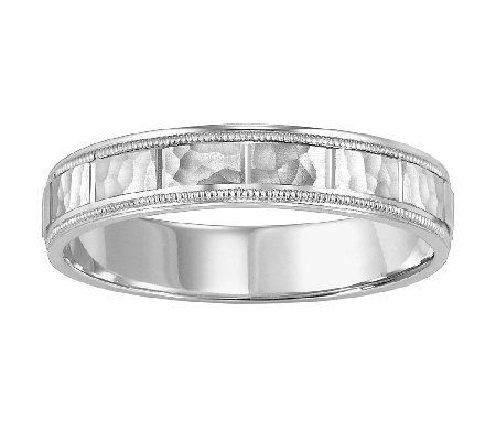 4.5mm Men's Square Pattern Wedding Band, 14K White Gold