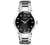 Bulova Men's Stainless Steel Two-Tone & Black Dial Watch - J316254