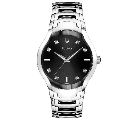 Bulova Men's Stainless Steel Two-Tone & Black Dial Watch