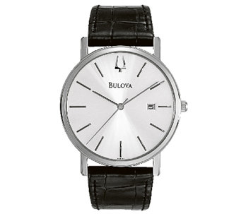 Bulova Men's Stainless Steel Black Leather Strap Watch - J316454