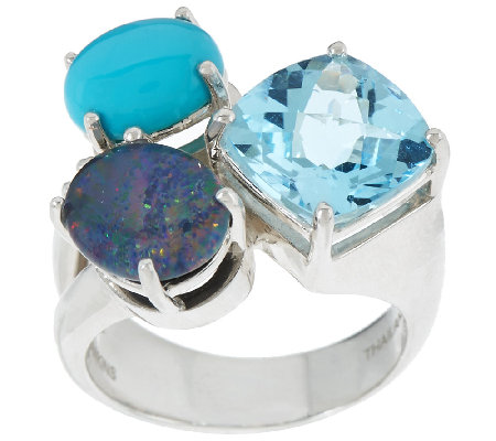 Michael Dawkins Sterling & Multi-Gemstone Ring