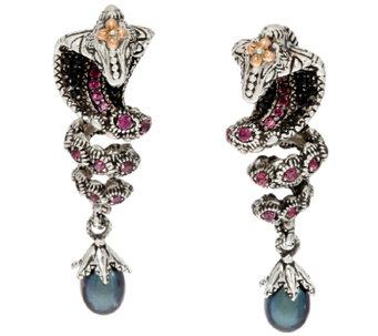 Barbara Bixby Sterling & 18K 0.90 cttw Multi-Gemstone Snake Earrings - J321054