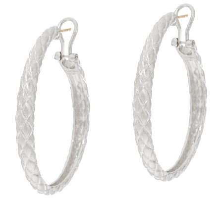 "Michael Dawkins Sterling Silver Quilt Texture 2"" Hoop Earrings"