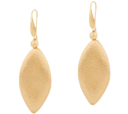 Veronese 18K Clad Satin Finish Marquise Shaped Dangle Earrings