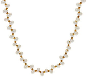 "Honora Cultured Pearl 5.0mm & Hematite Sterling 18"" Necklace w/Ext. - J324154"