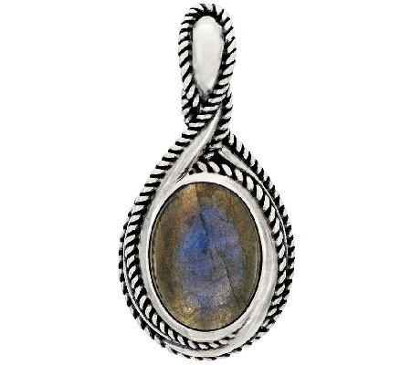 Carolyn Pollack Sterling Silver Oval Labradorite Enhancer