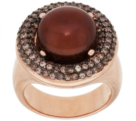 """As Is"" Honora Cultured Pearl 11.5mm Bronze Crystal Ring"