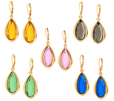 """As Is"" Joan Rivers Set of 5 Teardrop Lever Back Earrings"