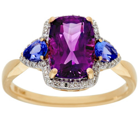 Uruguayan Amethyst and Tanzanite Ring, 14K Gold 2.20 cttw