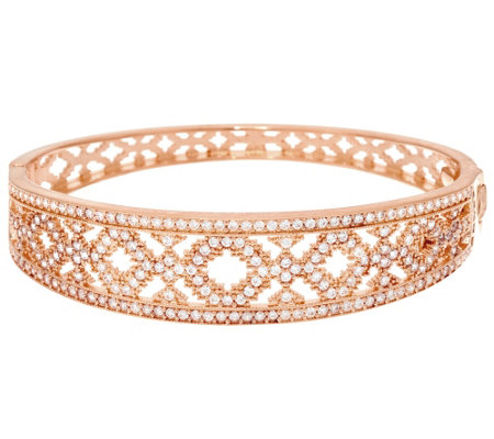 """As Is"" Bronze Diamonique Open Work Bangle by Bronzo Italia"