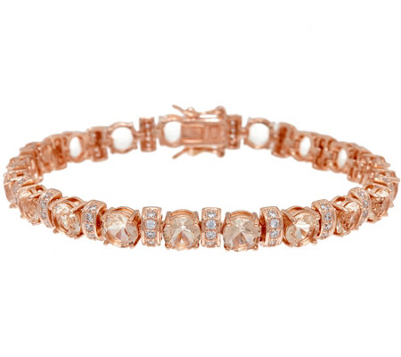 Diamonique & Simulated Morganite Bracelet, 14K Rose Clad