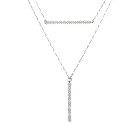 """As Is"" Vicenza Silver Sterling Double Layer Bead Necklace"