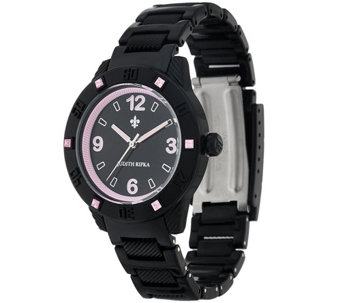 """As Is"" Judith Ripka Black Athena Watch w/ Color DMQ. Accents - J329854"