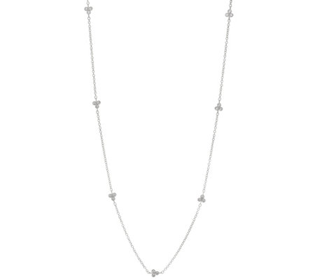 "Judith Ripka Sterling 36"" Diamonique Cherry Station Necklace"